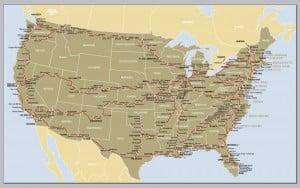Amtraks omfattende rutenet dækker store dele af USA